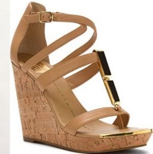 Anthropologie Dolce Vita Nude Cork Wedge Sandals